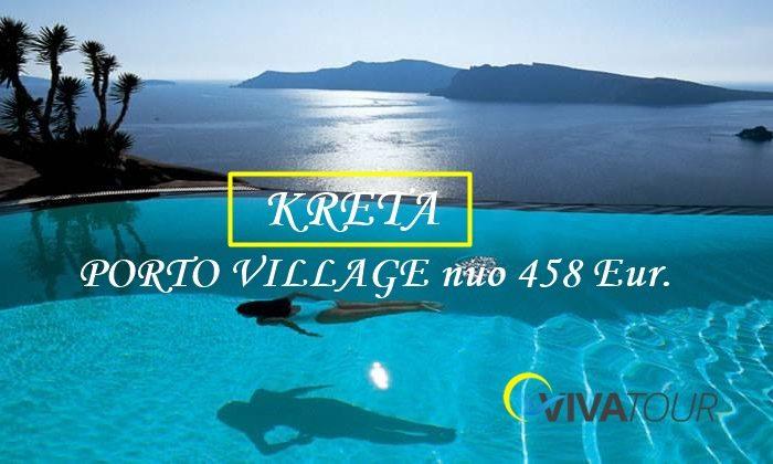 Puikus graikiško stiliaus viešbutis už super kainą PORTO VILLAGE ⭐️⭐️⭐️⭐️su maitinimo sistema pusryčiai ir vakarienė 7 naktų poilsis tik už 539 Eur/asm.